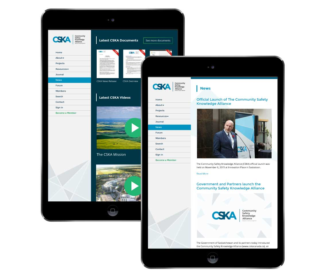 Community Safety Knowledge Alliance Website Tablet