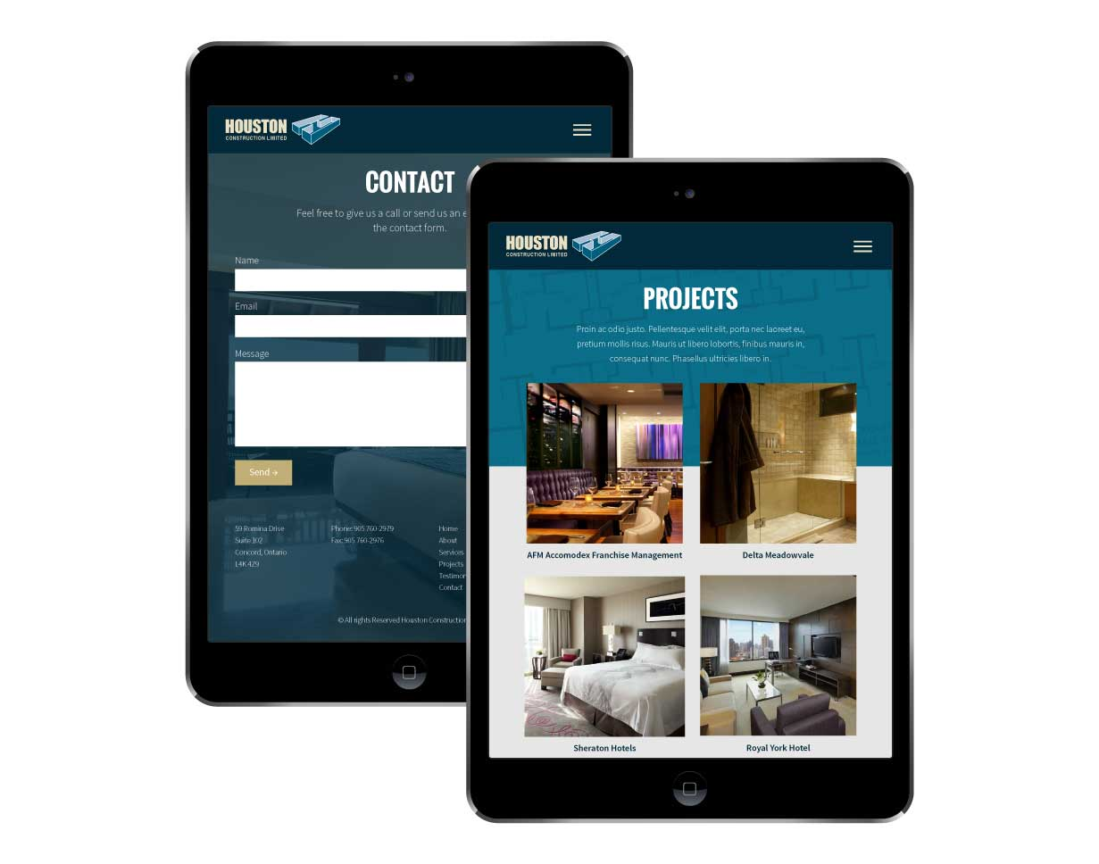 Houston Construction Limited Website Tablet